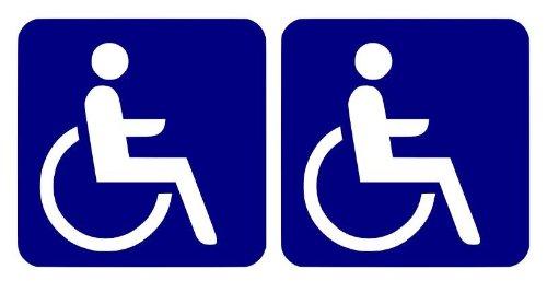 2 Rollstuhlfahrer - Behindert - Aufkleber Autoaufkleber 10x10cm B109