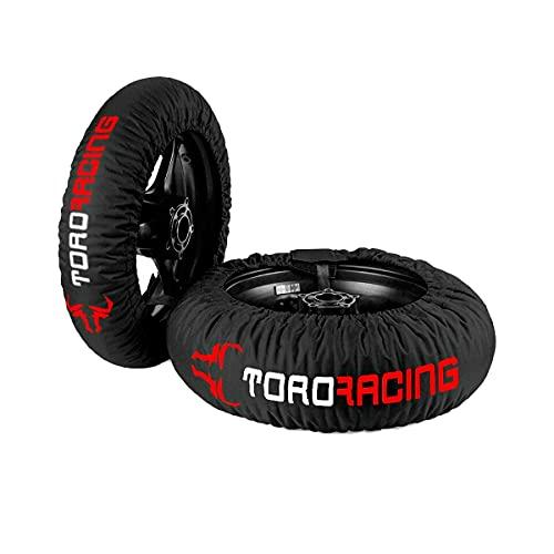 """Toro Racing Calentadores de Neumáticos para Moto DRURY (120-190) -17"""" – Cubierta Delantera de 120 y Trasera de 160/180/190/200, Enchufe 220 V Temperatura única, Supermotard (Negro/Rojo)"""