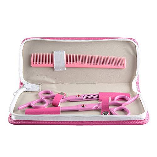 SUIWO Friseurscheren Professionelle Haarschneidescheren Bartscheren Set Ausdünnung Kit 6 Inch Pink Beauty Haircut Set, Thin Flat + Tooth Shear-Werkzeug (Farbe : Rosa)