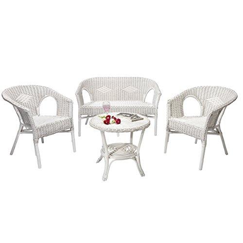 Rotin Design Salon Chris de Mimbre Blanco Moderno : 1 Sofa, 2 sillones y una Mesa