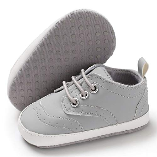 BENHERO Baby Boys Girls Oxford Shoes Soft Sole PU Leather Moccasins Infant Toddler First Walkers Crib Dress Shoes Sneaker (0-6 Months Infant),F-Grey