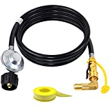 8FT Low Pressure Quick Connect Propane Regulator Hose with 1/4' RV Quick Connect Propane Elbow Adapter for Blackstone 17' and 22' Propane Gas Tabletop Camping Grill and Other Low Pressure Grill.