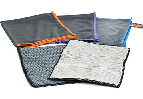 CARBOTEC® 5X Premium Carbon Microfaser Glas & Vorreinigungstücher - fusselfreie Mikrofasertücher für streifenfreie Scheiben & Fenster - Poliertuch aus Carbonfaser - Auto Microfiber Putztuch/Waffeltuch