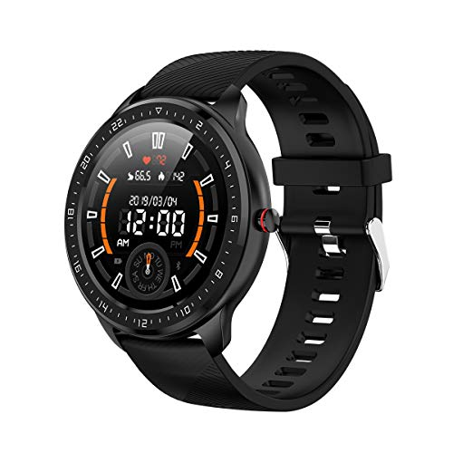 Smart Watch elinkSmart Fitness Tracker Wristwatch Sportwatch with Heart Rate Sleep Stand, Waterproof, Compatible with Android and iOS Phone for Women and Men (Black)