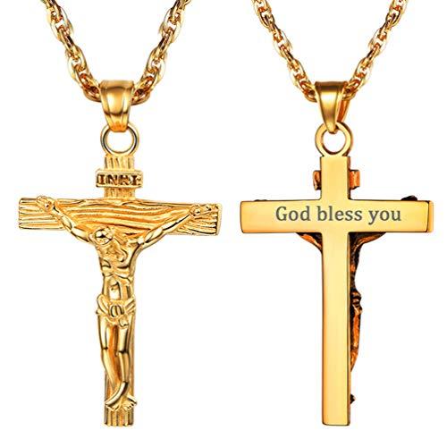 PROSTEEL Cadena Hombre Grabado Dorado con Colgante Cruz Crucifijo Jesús Inri Acero Chapado en Oro ...
