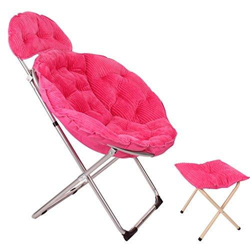 Klappstühle Großer Mond Stuhl Lazy Stuhl Radar Stuhl Lunch Break Falten Recliner Stuhl Stuhl Sonnenuntergang Anzug Liegestuhl (Farbe : Rose rot)