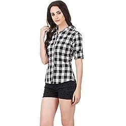 DAMEN MODE Womens Cotton Checkered Shirt