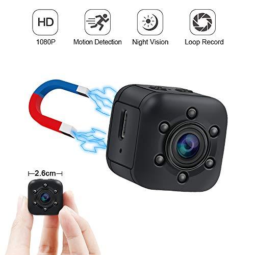 Mini Kamera UYIKOO Kleine Kamera 120 Grad HD 1080P Tragbare Kamera Nanny Cam mit Nachtsicht und Bewegungserkennung Geeignet für Haus/Garage/Garten Sicherheitsüberwachung Kamera