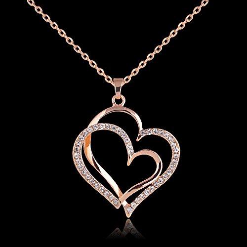 Estilo de verano de color oro rosa de cristal doble corazón colgante de joyería de lujo amor corazón collares día de San Valentín boda joyería