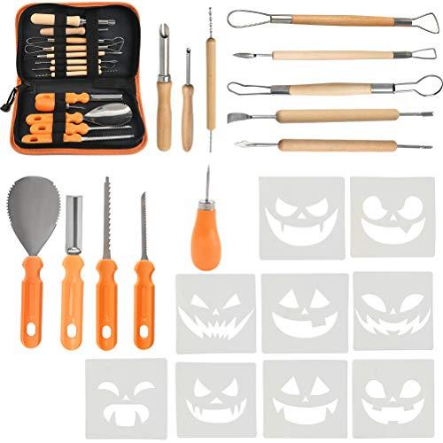 YOTINO 4 Uds Kit de herramientas de tallado de calabaza de acero inoxidable, herramientas de grabado de calabaza para decoración de Halloween DIY