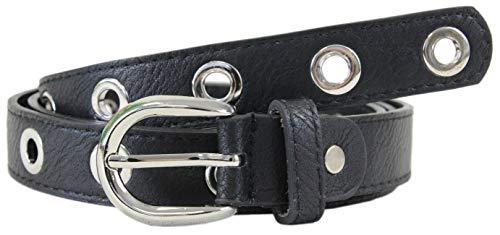 irisaa Cinturón con tachuelas para mujer, negro, cinturón punk, estrecho, estilo gótico, talla única, aprox. 2,5 cm de ancho negro/plateado Talla única