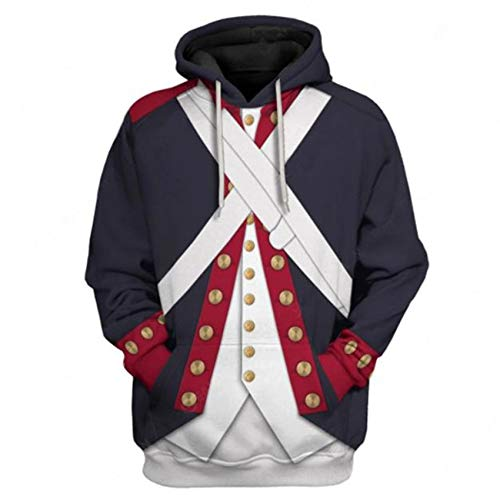 Historical Hoodie Revolutionary War Uniform Costume 3D Printed Army Jacket Halloween Costume (XX-Large, Continental Army)