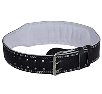 """Weight Lifting Belt for Fitness Gym - Adjustable Leather Belt with 4"""" Padded Lumbar Back - Great for Bodybuilding Functional Training Powerlifting Deadlifts Workout & Squats Exercise  Black XXL"""
