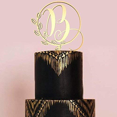 Mirror B Letter Monogram Initial Cake Topper,Wedding Gold Cake Decoration