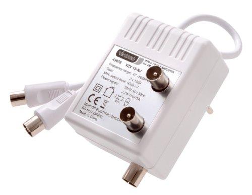 Vivanco STVZV 15S-NJ DVB-C / DVB-T TV-Zweigeräteverstärker (Koax-Kupplung - 2x Koax-Stecker)