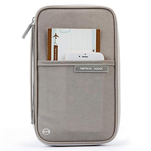 Familien Reiseorganizer Tasche Reiseunterlagen Organizer Mappe Reisepass mit RFID Ausweistasche Tickettasche Brieftasche Dokumententasche für Passport, Kreditkarten, Flugkarten, Stift, ManKn (Grau)