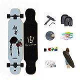 WRISCG Longboard Tabla Completa 107cm x 25cm 8 Capas de Madera de Arce Skateboard, Rodamientos ABEC Alta velicidad, 70x51mm Ruedas de PU, Drop-Through Freeride Skate Cruiser Boards,B