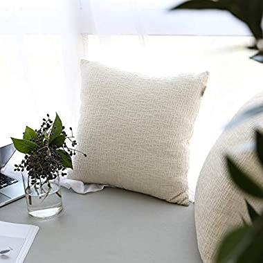 Kevin Textile Couch Pillows Covers, Decorative Pillows Case Soft Velvet Throw Cushion Cover with Invisible Zipper 45x45cm (18 Inch) for Couch,2 Pieces,Cream