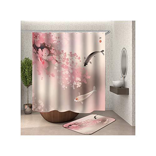 Anwaz - Cortina de ducha y alfombra de baño, lavable, de poliéster, diseño de carpas, poliéster, carbón, 120 x 180 cm