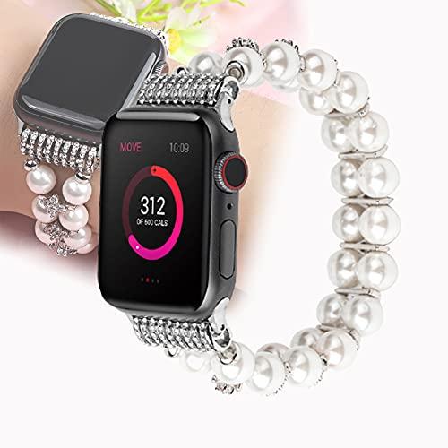 Pulsera Compatible para Apple Watch Band 40 mm / 38 mm Mujer Chica, Linda Correa De Cuentas Elástica Hecha A Mano De Moda Compatible con Iwatch 38 mm 40 mm 4/3/2/1,42mm/44mm