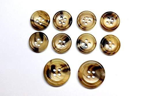 水牛スーツボタンセット(K150color.7Aベージュベースにこげ茶) 20mm 2個 15mm 8個 セット 水牛ボタンセット老舗テーラー御用達ボタン(k150-7A-2/8)