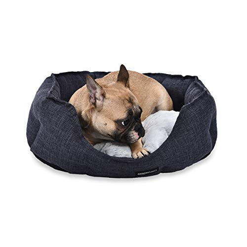 AmazonBasics Cama redonda para mascotas, de tamaño pequeño, gris