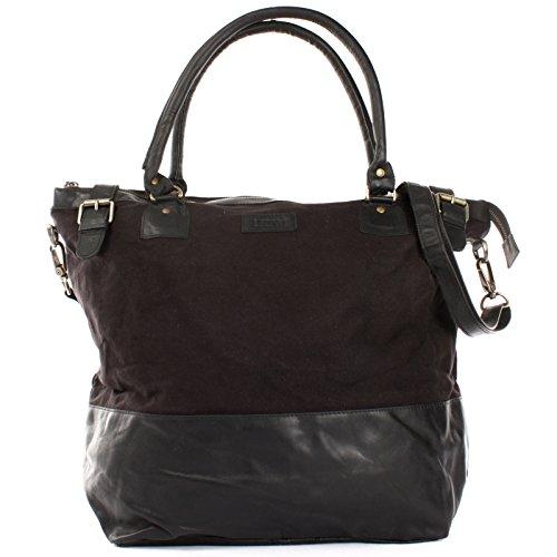 LECONI XL Shopper für Damen kleiner Weekender Beuteltasche große Frauen Schultertasche Wickeltasche Umhängetasche aus Canvas & Leder 50x41x20cm schwarz LE2005-C