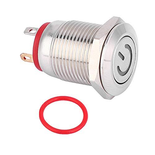 SANON Verriegelungsfreier 12-Mm-Metallknopfschalterring Und Rot Geformter Roter Selbstrückstellschalter