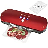 KitchenBoss Machine Sous Vide, Système Automatique de Sous Vide, Indicateur Intelligent de LED, Inclus 20 Pcs Sac Sous Vide Alimentaire (Rouge)