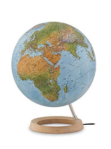 Tecnodidattica Globo terráqueo Atmosphere FCR, giratorio, luminoso, base de madera de arce, cartografía en relieve, diámetro 30 cm