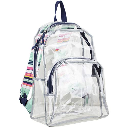 Eastsport Clear Dome Backpack with Adjustable Printed Padded Straps - Blue/Candy Stripe Print