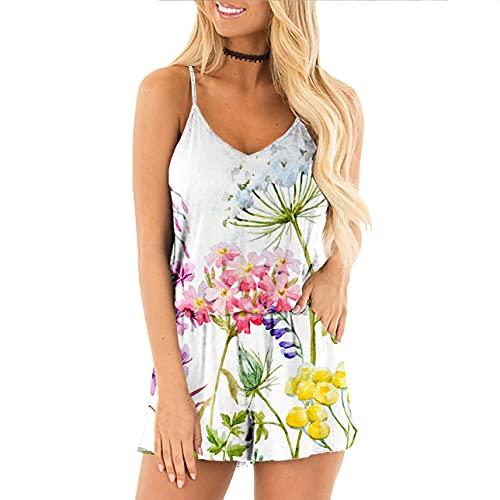 Pabuyafa Mono de verano para mujer, estampado floral, correa de espagueti, casual, cintura alta, corto mono con bolsillo, blanco, L
