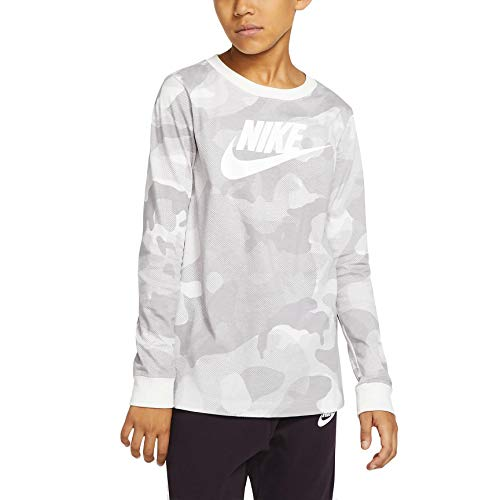 Nike Big Boys - Camiseta de manga larga con estampado de camuflaje - Gris - X-Large