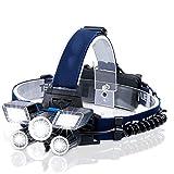 ZLUCKHY Faro Recargable, LED, con Indicador De Encendido, Luz USB, Faro Impermeable, Faro con 9 Modos, Utilizado para Acampar Al Aire Libre, Caza, Pesca, Senderismo, Ciclismo