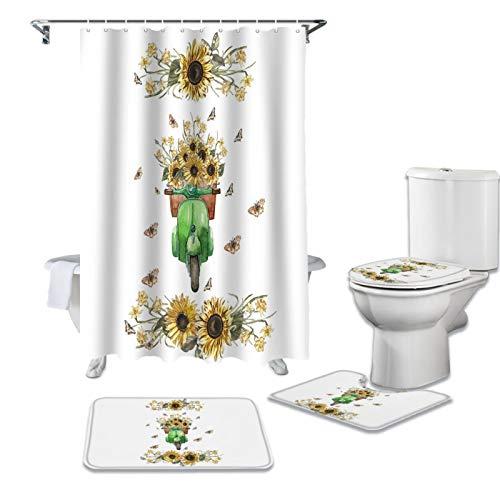 Cortina de ducha de girasol eléctrica para coche, diseño de mariposa, antideslizante, cubierta de tapa de inodoro y alfombrilla de baño, cortinas de baño impermeables