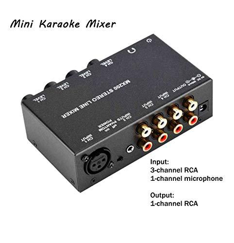 Tonysa Noise Cancelling Mini Karaoke Mixer, 4-Kanal DJ Mixer Mischpult,Stereo Sound Mini Dj Mixer für TV/Telefon/MP3/Mac Mini/PS3/FM Tuner/Phono Player mit 3RCA Eingang/1RCA Ausgang(EU-Stecker)