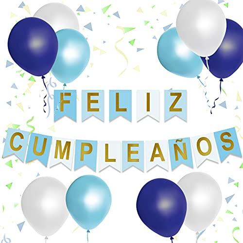 Guirnalda feliz cumpleaños decoracion con 26 piezas y hasta 3.4m. Pancarta de Decoracion globos de cumpleaños para fiesta de aniversario de adultos y niños en español y con forma de estrella. (Azul)