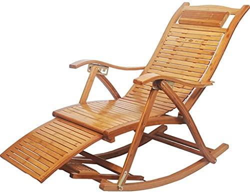 BSQT Sillas de oscilación de jardín, Silla de bambú al Aire Libre para Dormitorio, sillones de Piscina, Silla reclinable con Respaldo Ajustable y reposapiés para Sala de Estar