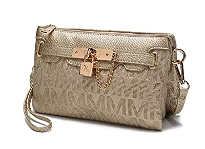 MKF 3 in 1 Crossbody Bag for Women, Wristlet Handbag, Shoulder Purse – PU Leather Messenger – Small Pocketbook Gold