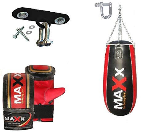 MAXX Black RED TEAR DROP BAGS SET Heavy Filled Punch Bag Boxing Set with wall bracket or Ceiling Hook + FREE CHAIN, Buy as Single PUNCHING BAG With Choice given (BLACK RED, BAG ONLY)