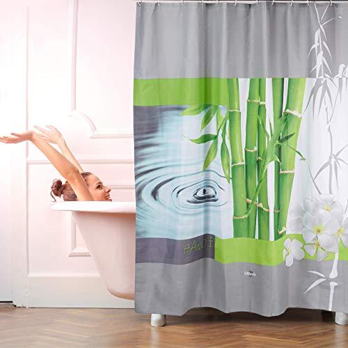 Relaxdays, bunt Duschvorhang, Anti-Schimmel, waschbar, Wassertropfen &, Textil, 12 Haken, Badvorhang 180x200 cm