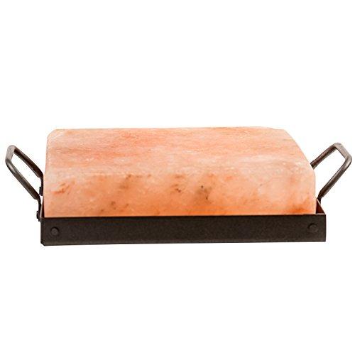 Himalayan Chef Himalayan Pink Salt - 8 x 8 x 1.5 Salt Cooking Plate, Metal Cooking Plate Holder