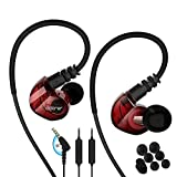 Running Sports Earbud Headphones Wired Over Ear in Ear Headsets Noise Isolation Waterproof Earbuds Enhanced Bass Stereo Earphones with Microphone and Remote for Running Jogging Gym (red)
