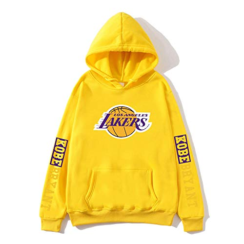 BAIDEFENG Herren Basketball Hooded Sweater Street Herbst und Winter Hooded Sweater Plus Samt Langarm Los Angeles Lakers Kobe NBA Sportswear Hoodies-Gelb_XXX-groß