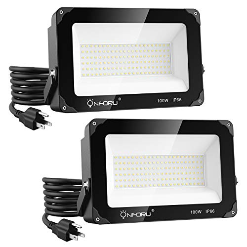 Onforu 2 Pack 100W LED Flood Light with Plug, 10000lm Super Bright LED Work Light, IP66 Waterproof Outdoor Security Lights, 5000K Daylight White Floodlight for Yard, Garden, Patio, Playground