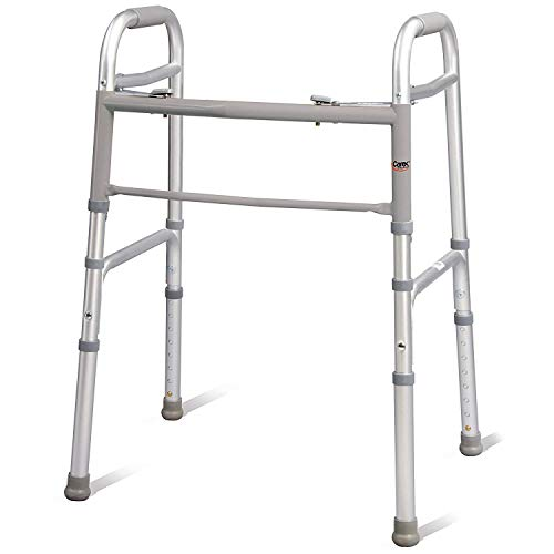 Carex Folding Walker for Seniors, Adult Walker, Portable Medical Walker with Adjustable Height, 30-37 Inches