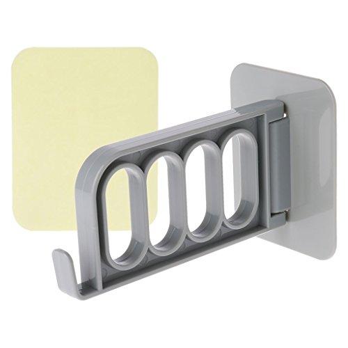 Joocyee Gancho para colgar la puerta de la pared con 4 agujeros organizador organizador de almacenamiento, gancho de plástico sin marcas para colgar ropa montado en la pared, gris, blanco