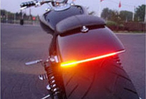 FREESOO Motorcycle Tail Brake Stop Led Turn Signal Light Strip 12V Waterproof 48SMD Universal Flexible License Plate Light