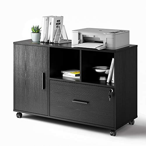 DEVAISE Office File Cabinet with 1 Drawer, Wood Lateral Filing Cabinet for Letter/Legal / A4 Size Files, Printer Stand with Storage Cabinet, Black