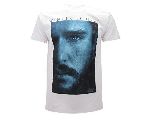 T-Shirt Originale Game Of Thrones Jon Snow Winter Is Here Trono di Spade con cartellino ed Etichetta di originalità (XL Adulto)